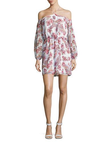 Wayf Liberty Cold Shoulder Floral Halter Neck Dress-MULTI-Large