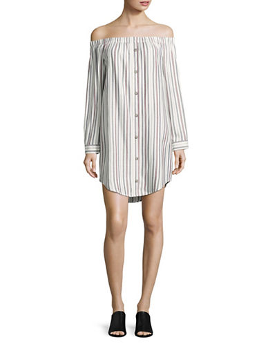 Bcbgeneration Rachel Off-Shoulder Shirt Dress-MULTI-Large