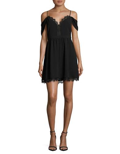 Wayf Bluff Lace-Trim Cold-Shoulder Dress-BLACK-Small