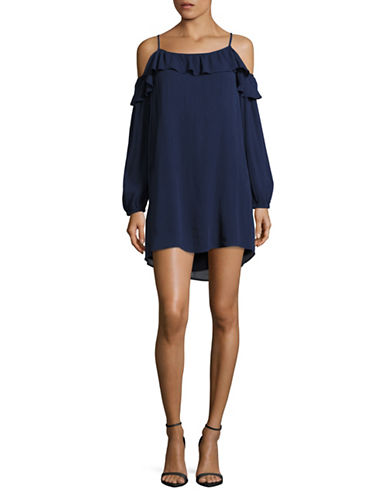 Bcbgeneration Dallas Cold-Shoulder Ruffle Dress-NAVY-Medium