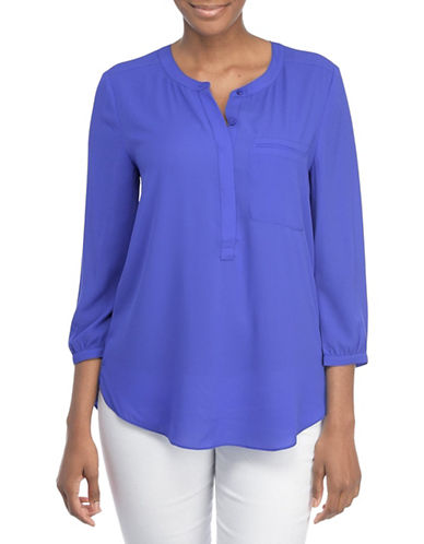 Nydj Plus Plus Georgette Pleat Back Blouse-ULTRA MARINE-0X plus size,  plus size fashion plus size appare