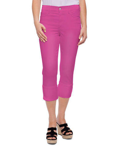 Nydj Dayla Wide Cuff Capri Pants-PINK-12 plus size,  plus size fashion plus size appare