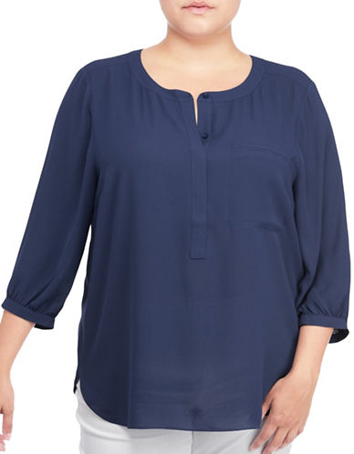 Nydj Plus Plus Georgette Pleat Back Blouse-BLUE-1X plus size,  plus size fashion plus size appare