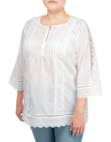 Nydj Plus Plus Eyelet Lace Tunic-NATURAL-2X