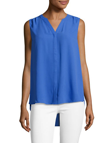 Nydj Pintucked Pleated Blouse-BLUE-X-Small
