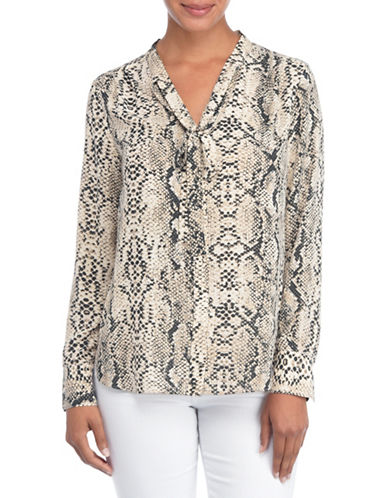 Nydj Floral-Printed Tie Neck Blouse-BEIGE MULTI-Large