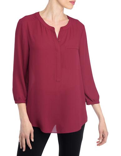 Nydj Plus Plus Plus Split Neck Georgette Tunic-RED-1X plus size,  plus size fashion plus size appare