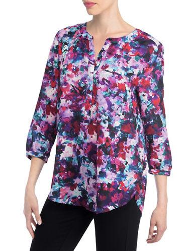 Nydj Plus Plus Plus Split Neck Georgette Tunic-MULTI RED-1X plus size,  plus size fashion plus size appare