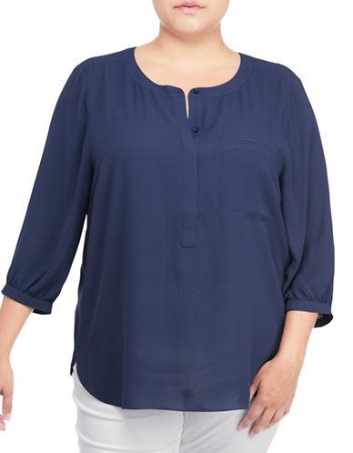 Nydj Plus Plus Georgette Pleat Back Blouse-WONDERLAND-2X plus size,  plus size fashion plus size appare