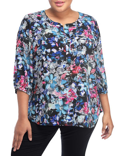 Nydj Plus Plus Georgette Pleat Back Blouse-GREY-3X plus size,  plus size fashion plus size appare