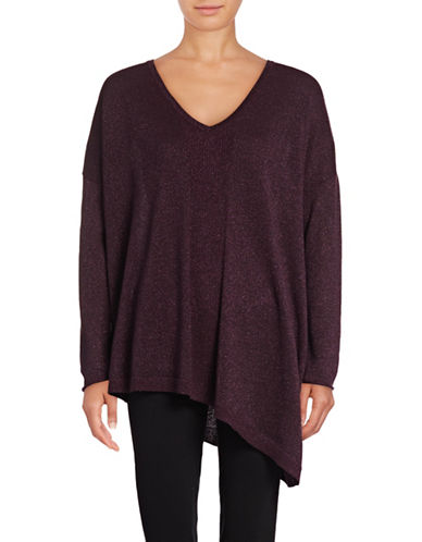 Nydj Shimmer Asymmetric Sweater-PURPLE-Large/X-Large