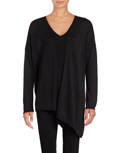 Nydj Shimmer Asymmetric Sweater-BLACK-Small/Medium