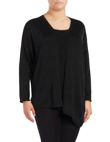 Nydj Plus Plus Metallic Asymmetrical Sweater-BLACK-1X/2X