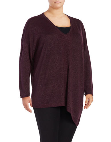 Nydj Plus Plus Metallic Asymmetrical Sweater-PURPLE-1X/2X