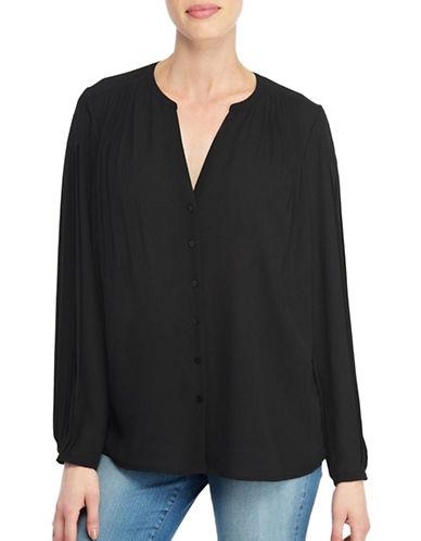 Nydj Pleated Long Sleeve Blouse-BLACK-Small