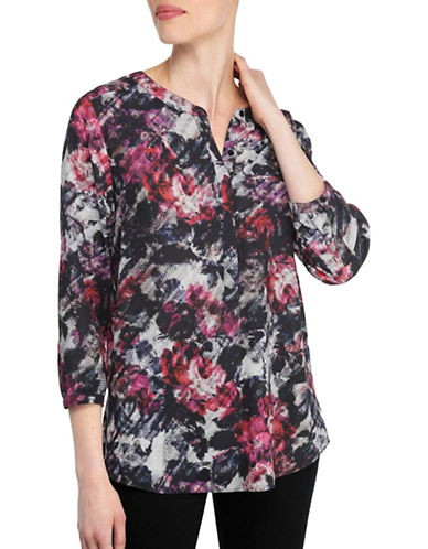 Nydj Kumquat Print Three-Quarter Sleeve Blouse-GREY MULTI-X-Small