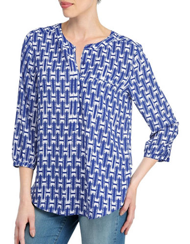 Nydj Kumquat Print Three-Quarter Sleeve Blouse-BLUE-X-Small