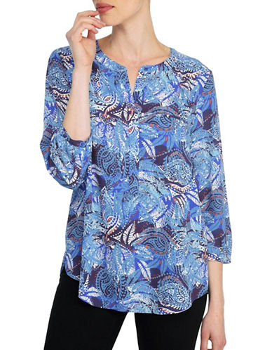 Nydj Kumquat Print Three-Quarter Sleeve Blouse-GREY-Small