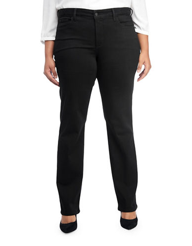 Nydj Plus Plus Marilyn Straight Jeans-BLACK-14W