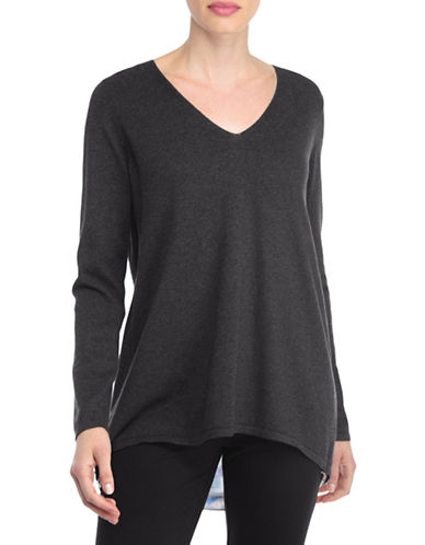 Nydj Plus Plus Mixed Media V-Neck Sweater-CHARCOAL-3X plus size,  plus size fashion plus size appare