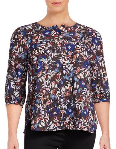 Nydj Plus Plus Georgette Pleat Back Blouse-BEIGE MULTI-2X plus size,  plus size fashion plus size appare