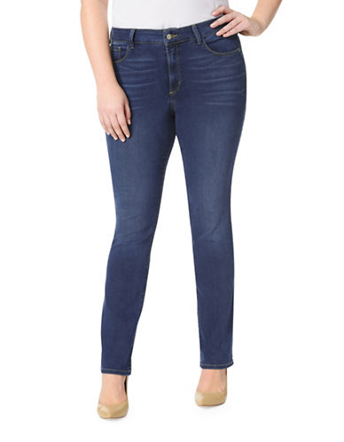 Nydj Plus Plus Marilyn Straight Jeans-BLUE-14W