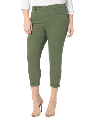 Nydj Plus Alina Convertible Rolled Hem Jeans-GREEN-14W