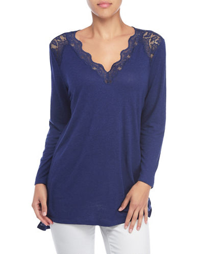 Nydj Lace Trim V-Neck Knit Top-BLUE-Large