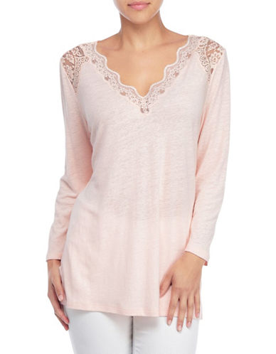 Nydj Lace Trim V-Neck Knit Top-PINK-Small 89036567_PINK_Small