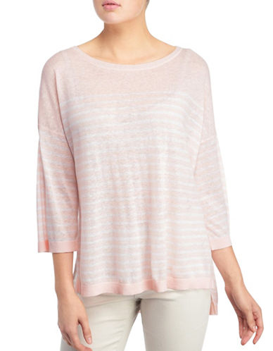 Nydj Serra Striped Linen-Blend Sweater-PINK-Medium
