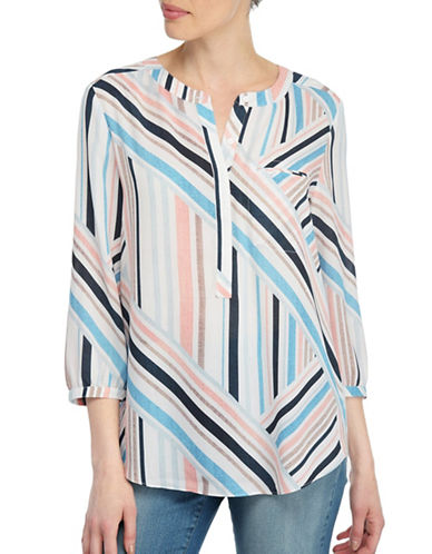 Nydj Plus Plus Cabana Weave Printed Three-Quarter Sleeve Blouse-MULTI-2X