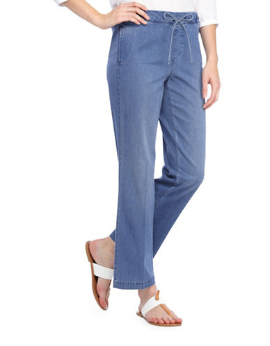 Nydj Jamie Relaxed Ankle Drawstring Jeans-BLUE-0