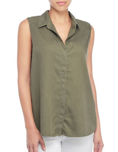 Nydj Tencel Sleeveless Top-GREEN-Medium