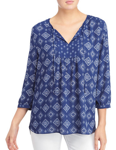Nydj Mosaic Blouse-BANDANA BLUE-Small