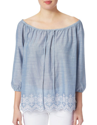 Nydj Eyelet Off-The-Shoulder Top-BLUE-Small