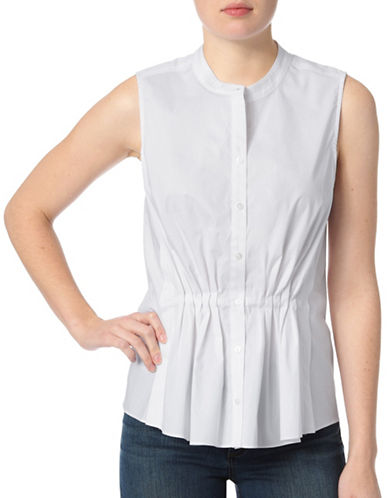 Nydj Pleat Front Sleeveless Shirt-WHITE-Large