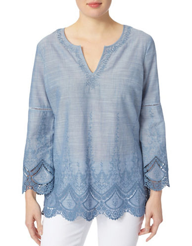 Nydj Embroidered Chambray Voile Top-BLUE-X-Small 89128417_BLUE_X-Small