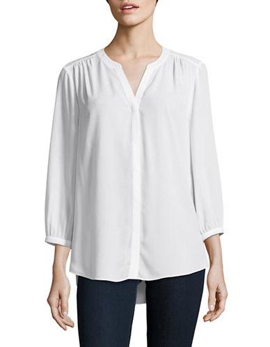 Nydj Long Sleeve Button Blouse-WHITE-X-Large
