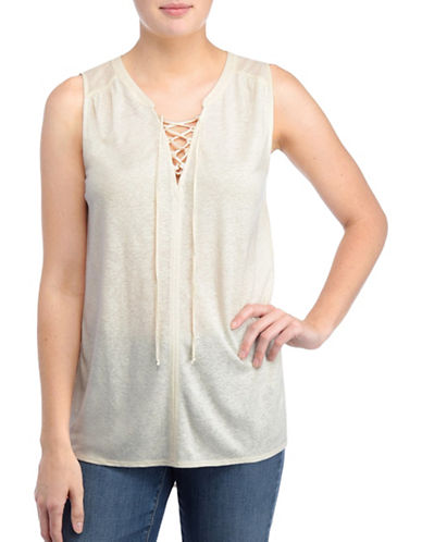 Nydj Lucia Lace-Up Summer Tank Top-NATURAL-X-Large