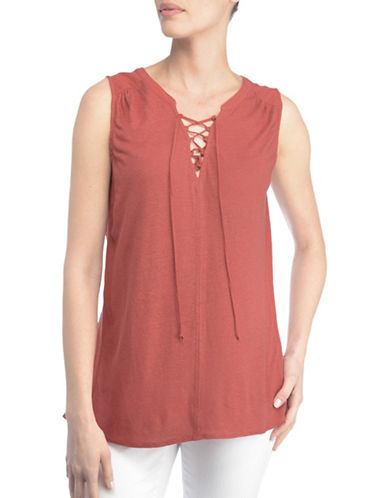Nydj Lucia Lace-Up Summer Tank Top-COPPER-Large
