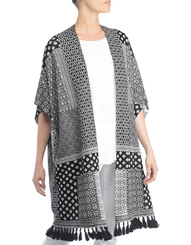 Nydj Harper Jacquard Wrap Cardigan-WHITE/BLACK-Small/Medium