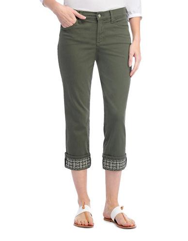 Nydj Dayla Tonal Stitched Capri Pants-GREEN-12