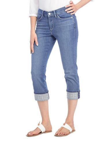 Nydj Alina Wide-Leg Opening Capri Denim Jeans-BLUE-18