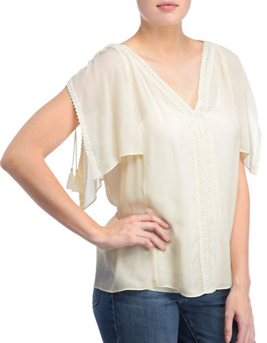 Nydj Flutter Sleeves Top-NATURAL-X-Large