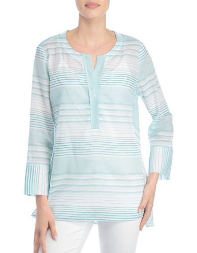Nydj Striped Popover Tunic-GREEN-X-Large