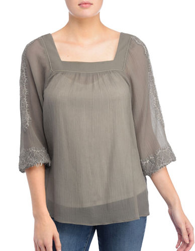 Nydj Crinkle Squareneck Blouse-TAUPE-X-Small
