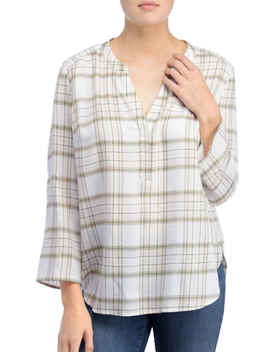 Nydj Twill Plaid Printed Shirt-GREEN MULTI-Small