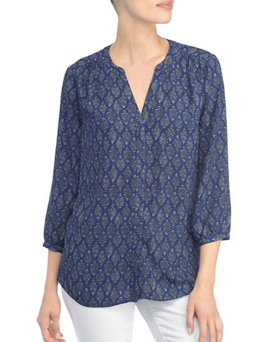 Nydj Long Sleeve Button Blouse-BLUE MULTI-X-Small