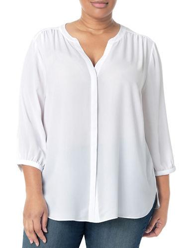 Nydj Plus Plus Modern Batik Blouse-WHITE-0X