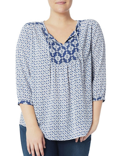 Nydj Plus Plus Plus Printed Peasant Blouse-BLUE-3X